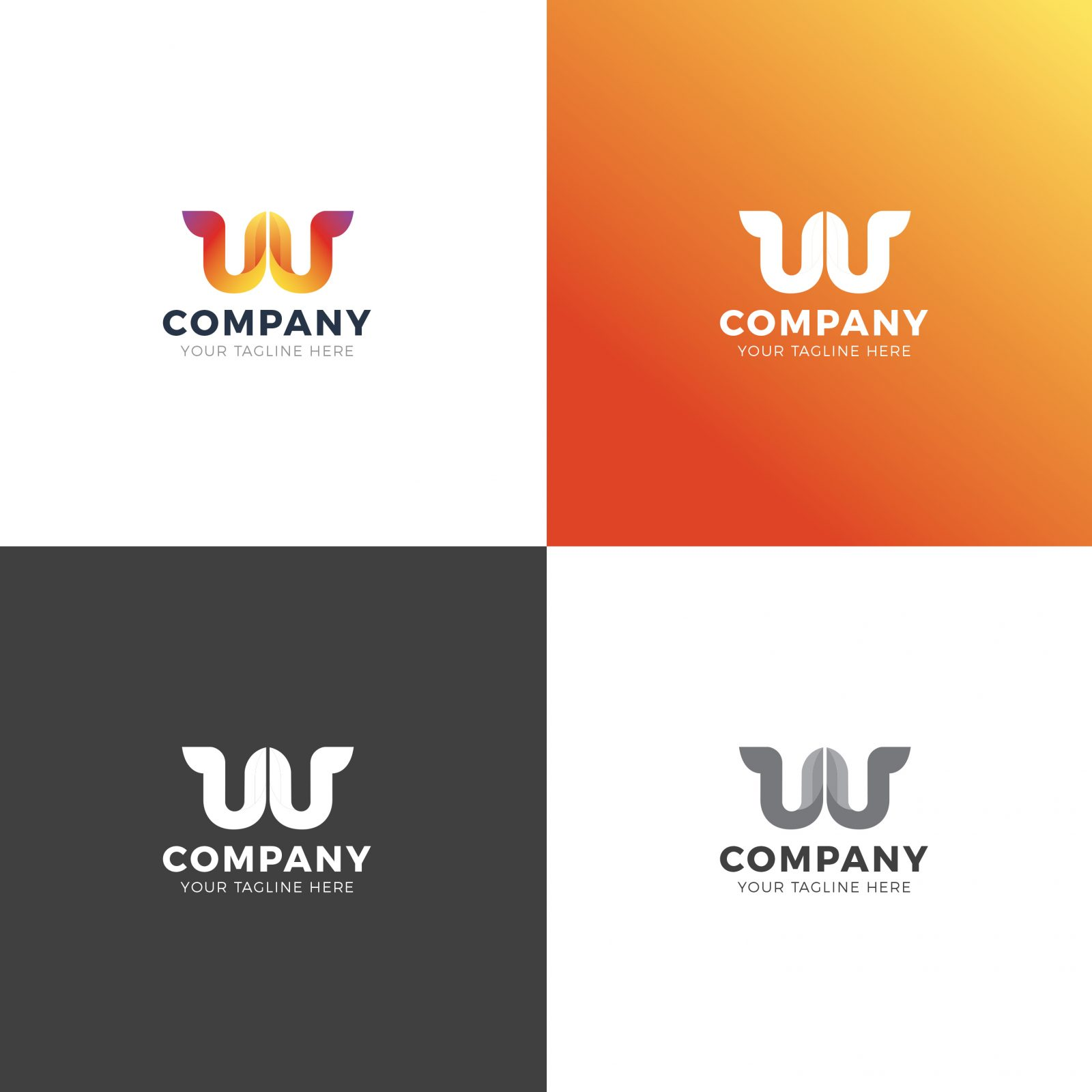 w company professional logo design template 001919