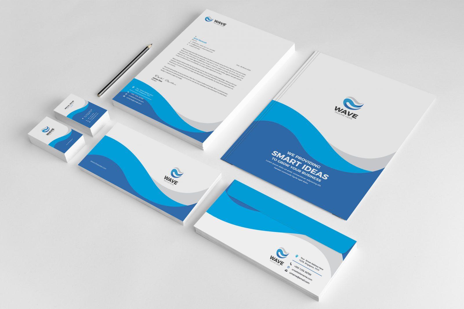 wave creative corporate identity design template 001950