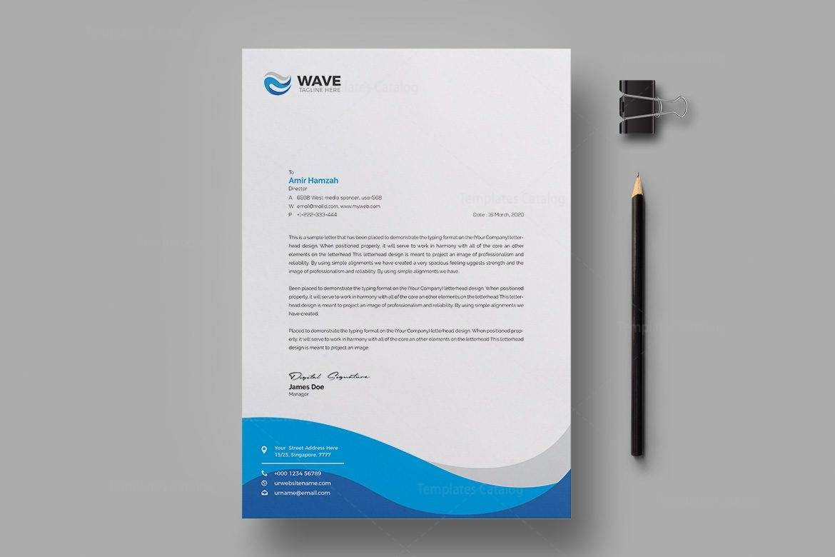 Wave Professional Corporate Letterhead Template