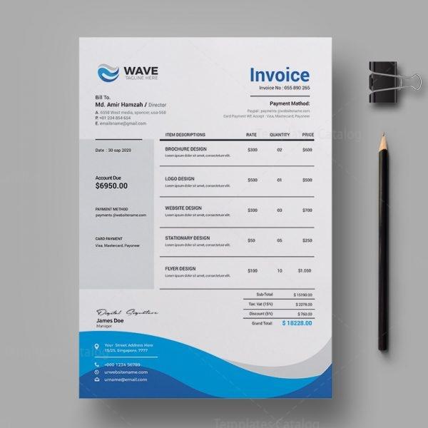 Wave Professional Invoice Design Template 2