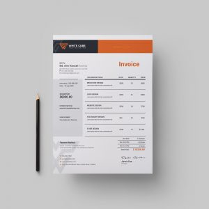 White Cube Professional Corporate Invoice Template