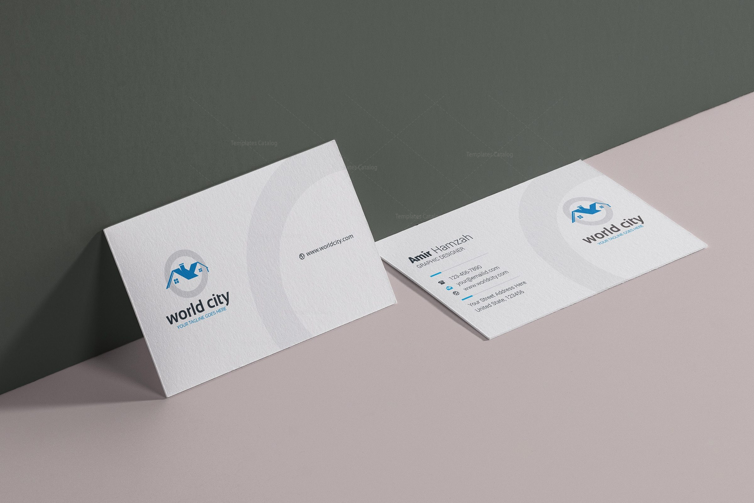 World City Real Estate Business Card Design Template 001780 ...