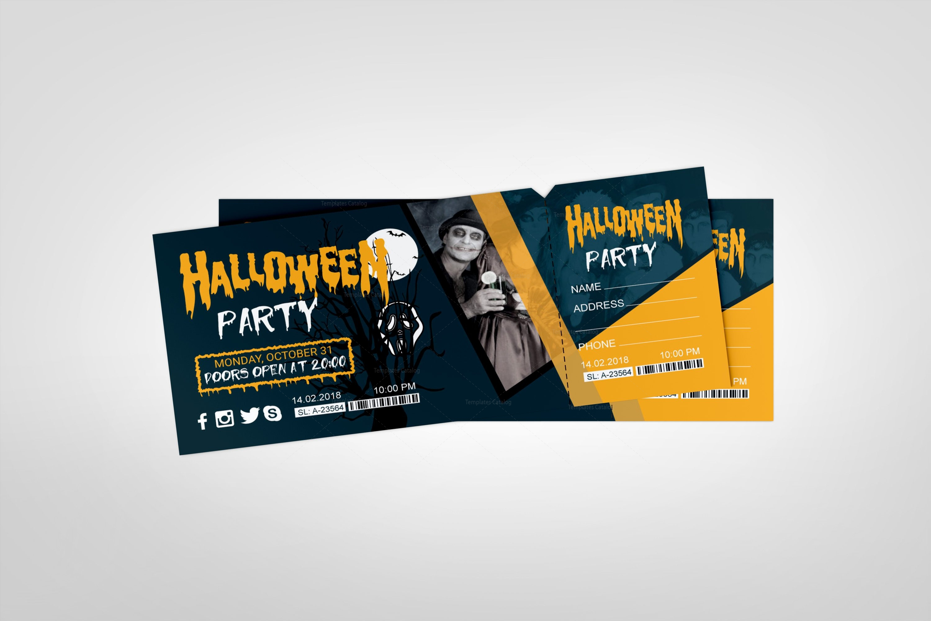 halloween party event ticket design template 001981 template catalog