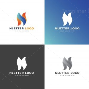 N Letter Professional Logo Design Template