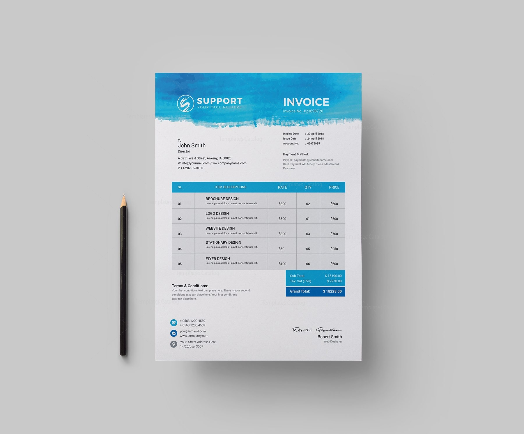 Serenity Corporate Invoice Design Template 002153 Template Catalog
