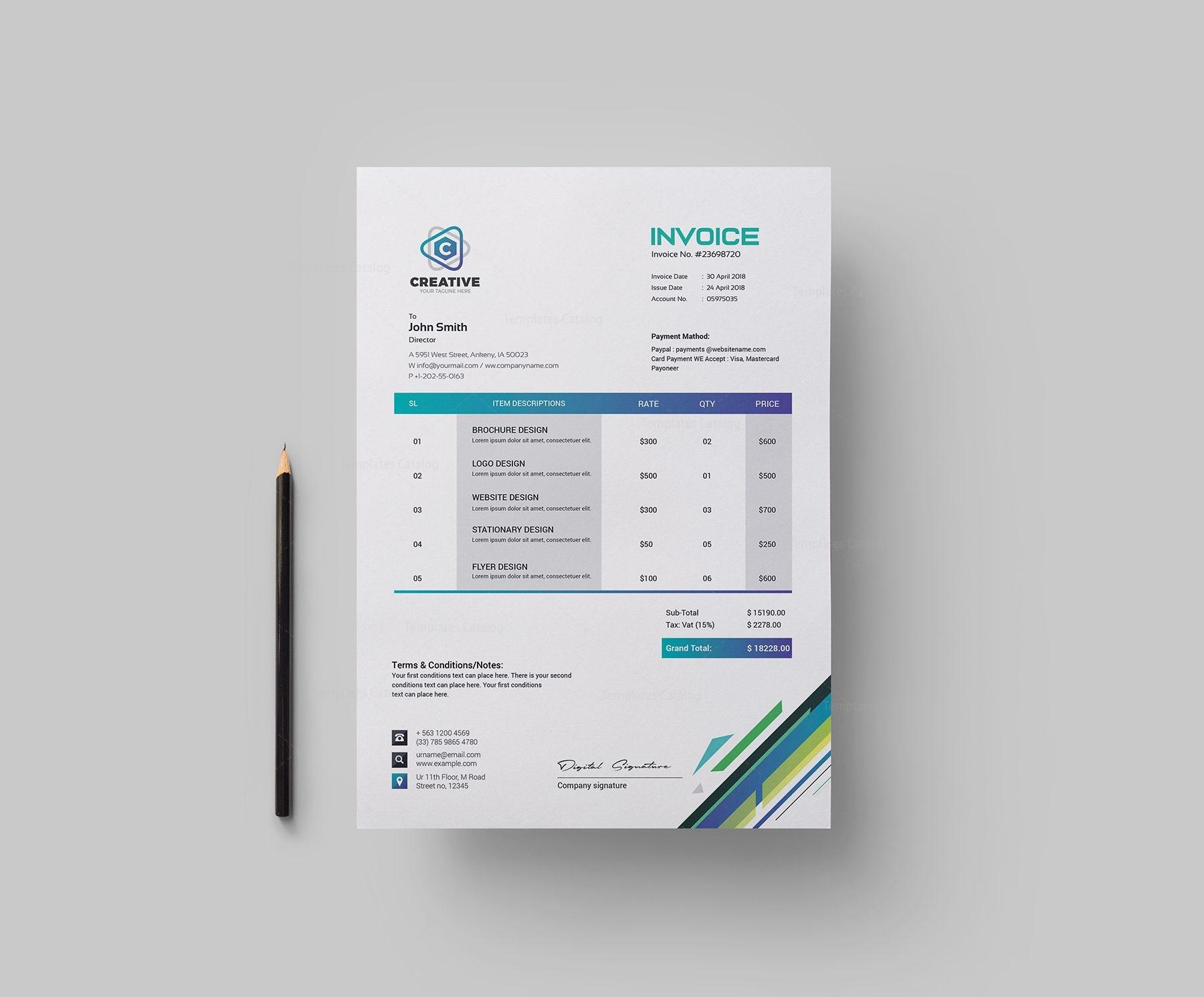 Smart Corporate Invoice Design Template 002148 Template Catalog