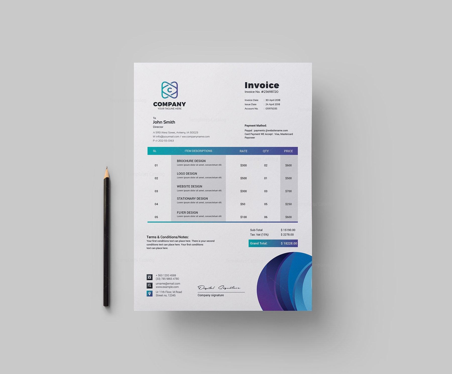 Top Corporate Invoice Design Template 002149 - Template Catalog