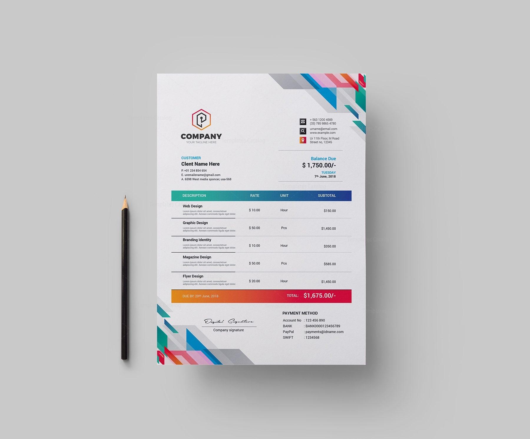 vibrant corporate invoice design template 002152 template catalog