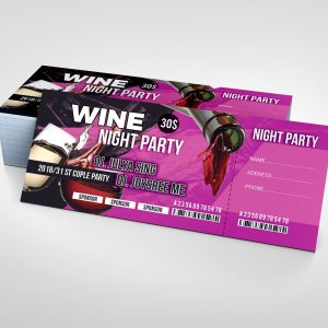 Wine Party Event Ticket Design Template