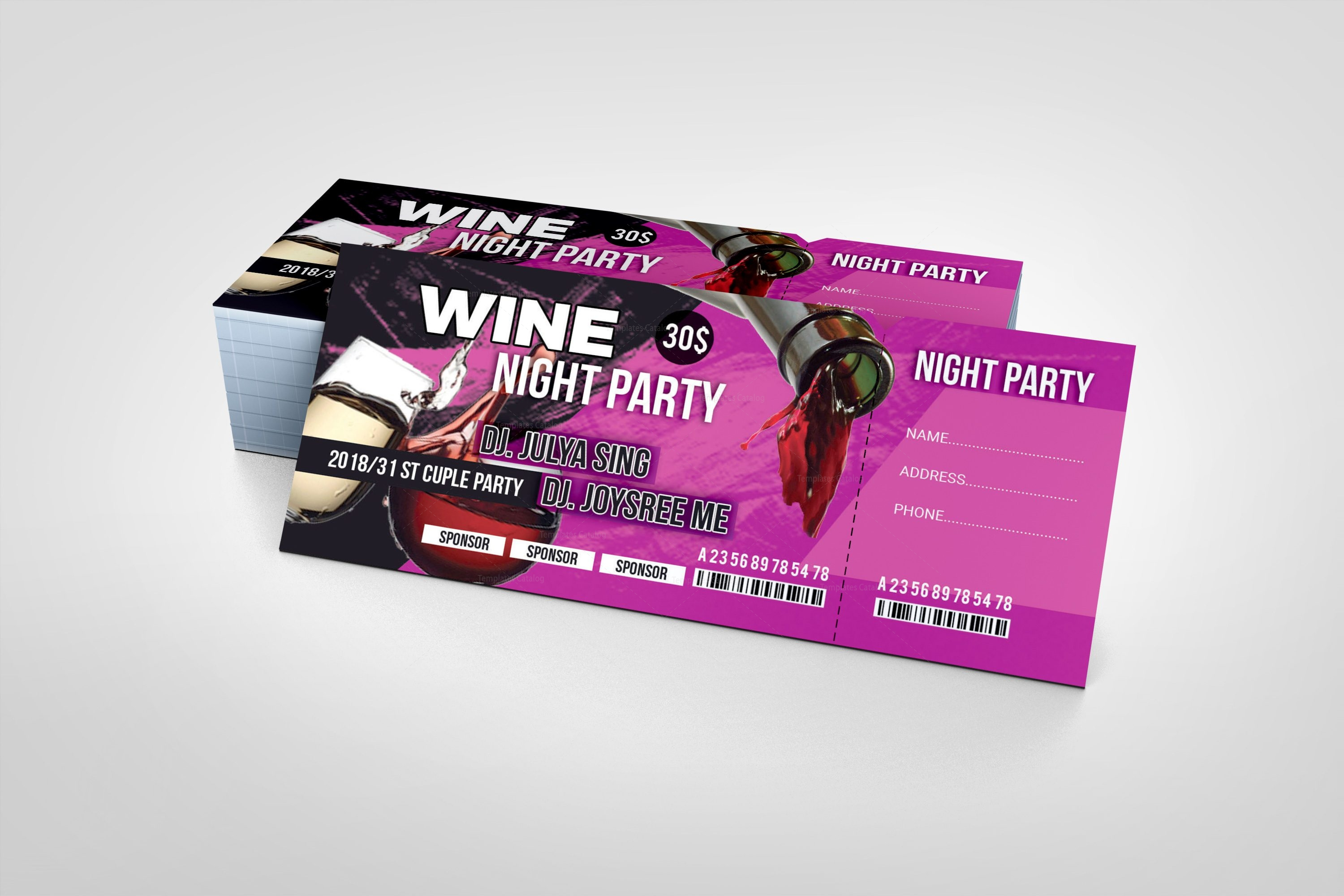 Wine Party Event Ticket Design Template 001974 - Template Catalog