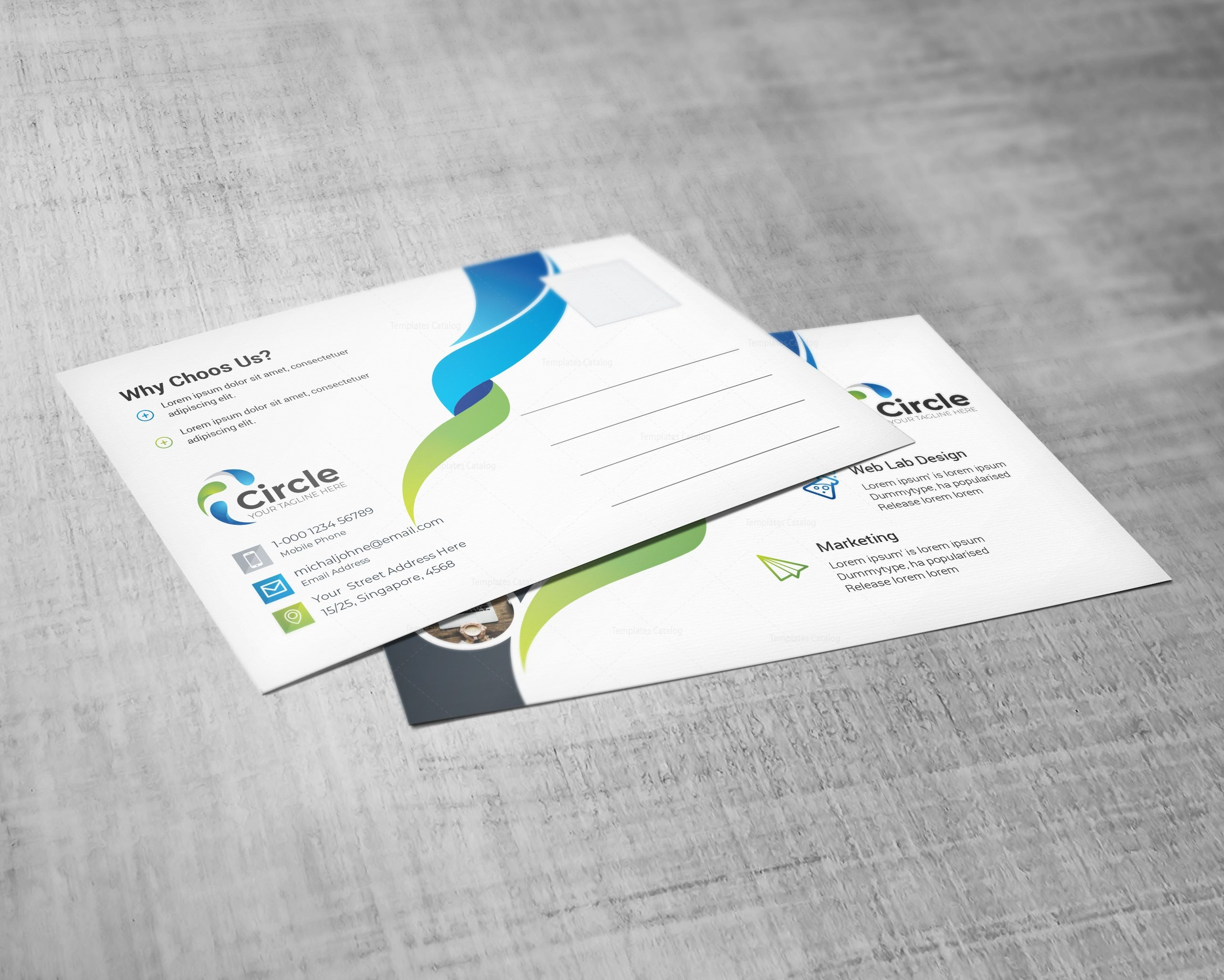 Circle Professional Postcard Design Template 002197 - Template Catalog