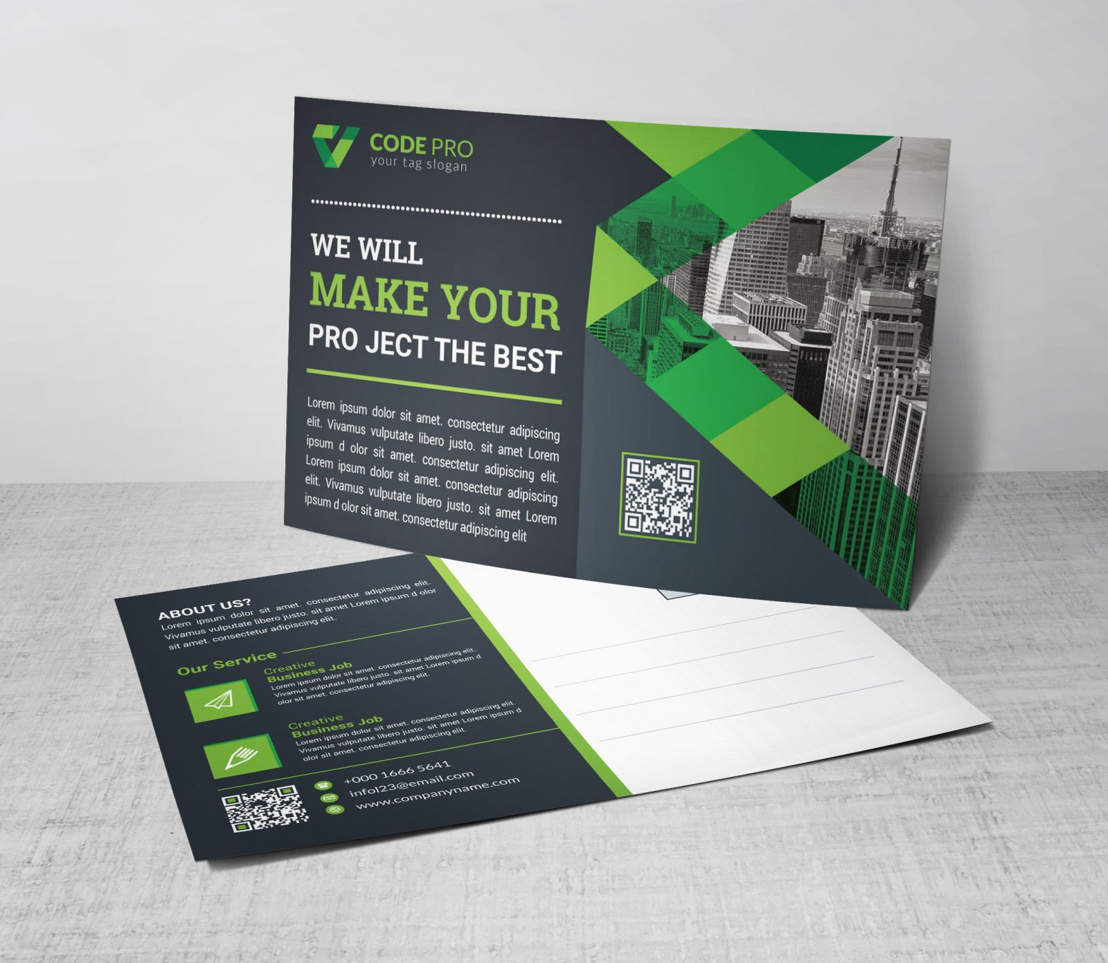 cool modern postcard design template 002256