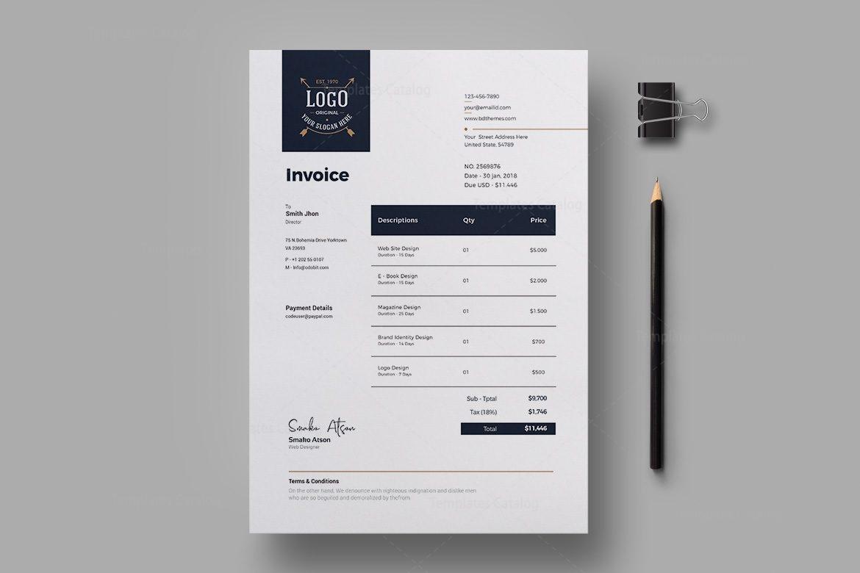 Luxury Corporate Invoice Design Template 002304 Template Catalog