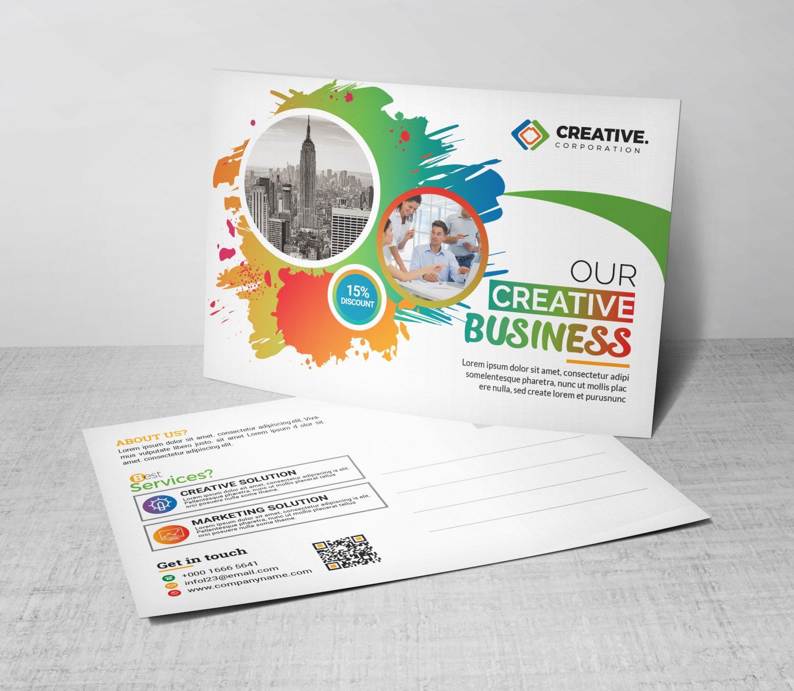 creative postcard design template 002382 template catalog. Black Bedroom Furniture Sets. Home Design Ideas