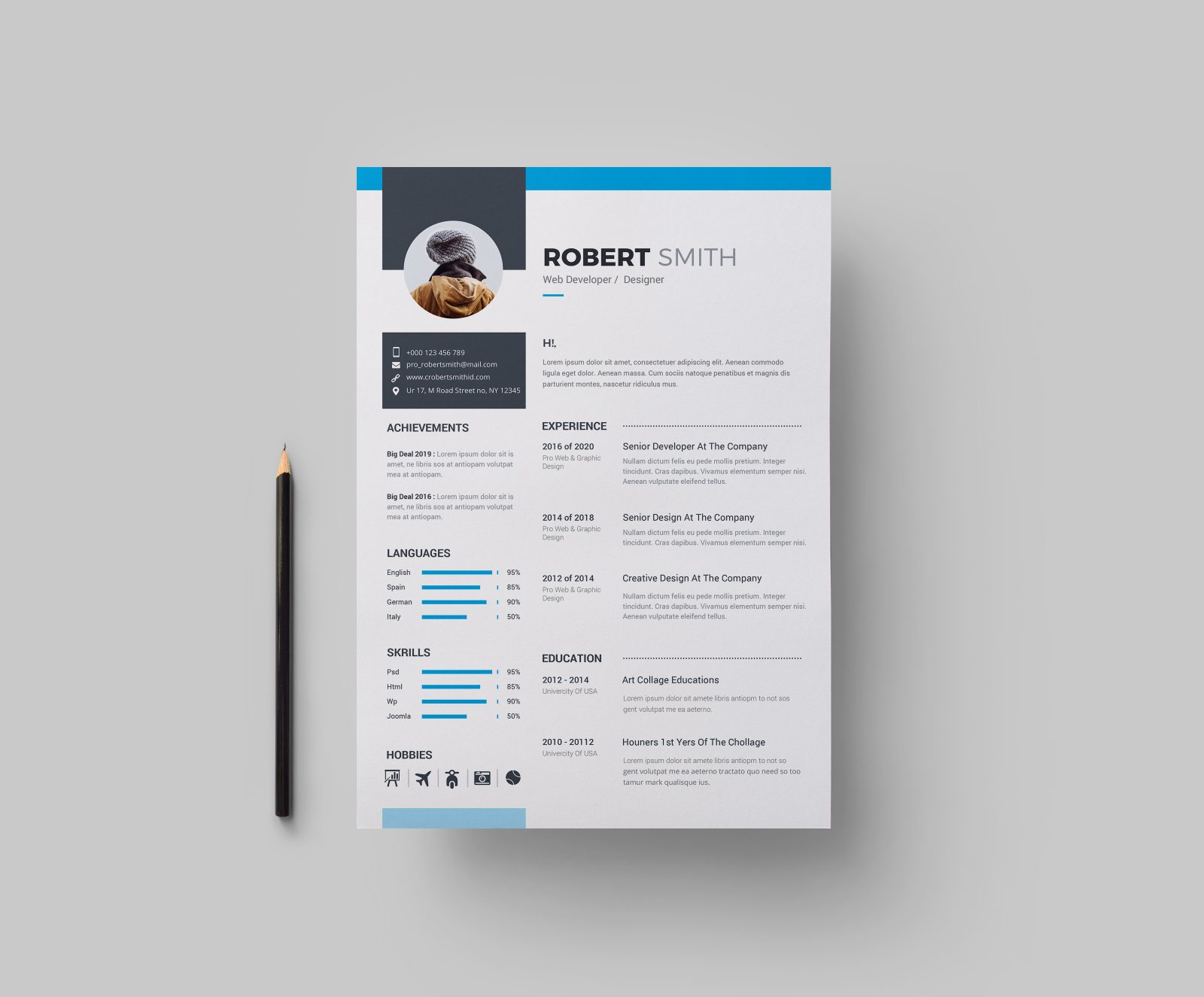 clean professional resume design 002728