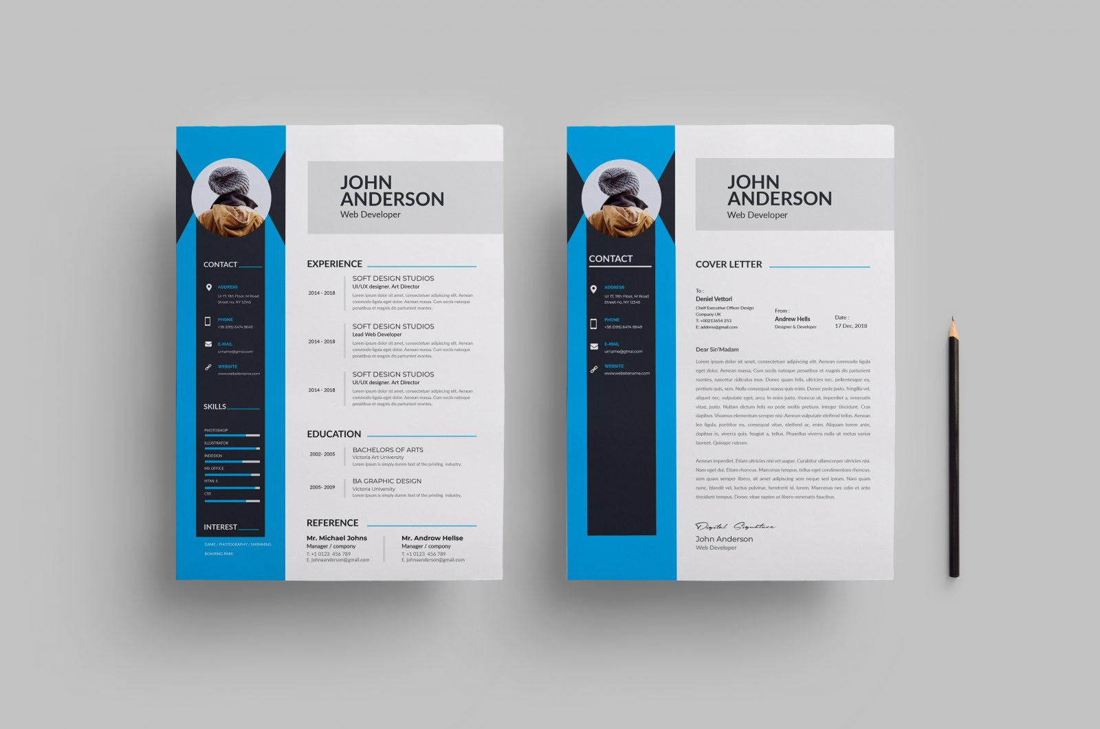 clean modern resume design 002742